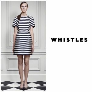 Whistles UK Striped Jacquard Dress Ivory Black